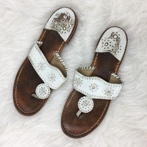 Jack Rogers Sz 9M White leather flip flops sandals